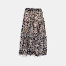 Image of Coach Australia NAVY/KHAKI LONG SKIRT WITH FRONT SLITS