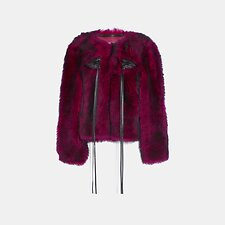 Image of Coach Australia FUCHSIA GLAM PUNK SHEARLING JACKET