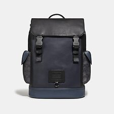 Image of Coach Australia JI/MIDNIGHT NAVY/CHARCOAL RIVINGTON BACKPACK WITH SIGNATURE CANVAS BLOCKING