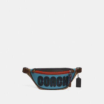 Image of Coach Australia  RIVINGTON BELT BAG 7 WITH SIGNATURE CANVAS BLOCKING AND COACH PRINT