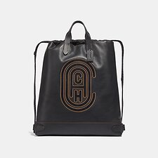 Image of Coach Australia JI/BLACK ACADEMY DRAWSTRING BACKPACK WITH COACH PATCH