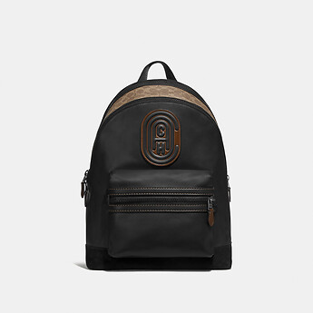 Image of Coach Australia  ACADEMY BACKPACK WITH SIGNATURE CANVAS BLOCKING AND COACH PATCH
