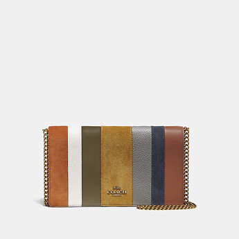 Image of Coach Australia  CALLIE FOLDOVER CHAIN CLUTCH WITH PATCHWORK STRIPES