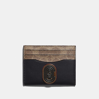 Image of Coach Australia  CARD CASE WITH SIGNATURE CANVAS BLOCKING AND COACH PATCH