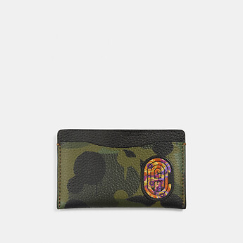 Image of Coach Australia  SMALL CARD CASE WITH WILD BEAST PRINT AND KAFFE FASSETT COACH PATCH