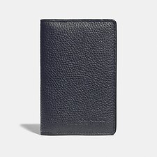 Image of Coach Australia MIDNIGHT/CHARCOAL CARD WALLET WITH SIGNATURE CANVAS BLOCKING