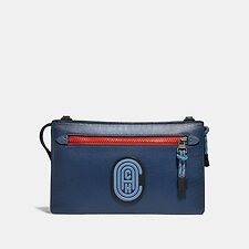 Image of Coach Australia TRUE BLUE MULTI RIVINGTON CONVERTIBLE POUCH IN COLORBLOCK WITH COACH PATCH