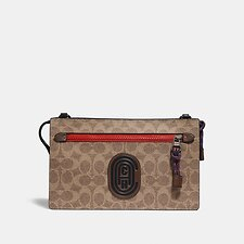 Image of Coach Australia TAN SIGNATURE MULTI RIVINGTON CONVERTIBLE POUCH WITH SIGNATURE CANVAS BLOCKING AND COACH PATCH