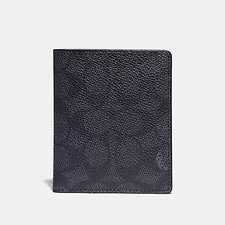 Image of Coach Australia CHARCOAL SIGNATURE MULTI SLIM WALLET WITH SIGNATURE CANVAS BLOCKING