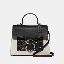 Image of Coach Australia B4/BLACK MULTI TABBY TOP HANDLE IN COLORBLOCK SNAKESKIN