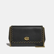 Image of Coach Australia V5/BLACK SMALL ALEXA TURNLOCK CLUTCH WITH SCALLOP RIVETS