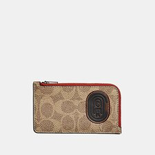 Image of Coach Australia TAN SIGNATURE MULTI L-ZIP CARD CASE WITH SIGNATURE CANVAS BLOCKING AND COACH PATCH