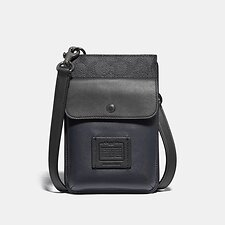 Image of Coach Australia CHARCOAL SIGNATURE MULTI HYBRID POUCH WITH SIGNATURE CANVAS BLOCKING