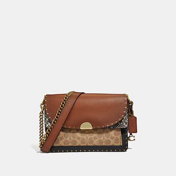 Image of Coach Australia  DREAMER SHOULDER BAG IN SIGNATURE CANVAS WITH SNAKESKIN DETAIL