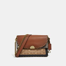 Image of Coach Australia B4/TAN MULTI DREAMER SHOULDER BAG IN SIGNATURE CANVAS WITH SNAKESKIN DETAIL