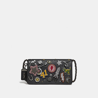 Image of Coach Australia  DINKY WITH SIGNATURE CANVAS DETAIL AND SOUVENIR PINS