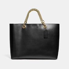Image of Coach Australia B4/BLACK SIGNATURE CHAIN CENTRAL TOTE