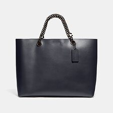 Image of Coach Australia V5/MIDNIGHT NAVY SIGNATURE CHAIN CENTRAL TOTE