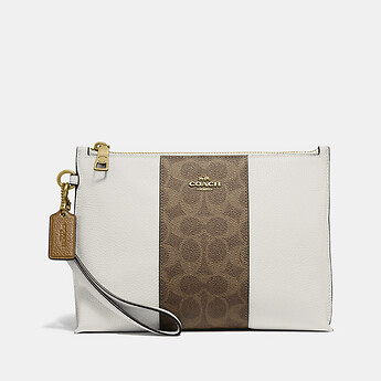 Image of Coach Australia  CHARLIE POUCH WITH SIGNATURE CANVAS BLOCKING