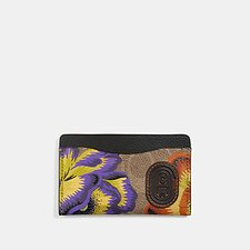 Image of Coach Australia V5/TAN MULTI SMALL CARD CASE IN SIGNATURE CANVAS WITH KAFFE FASSETT PRINT