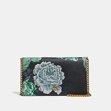 Image of Coach Australia B4/GREEN MULTI CALLIE FOLDOVER CHAIN CLUTCH WITH KAFFE FASSETT PRINT