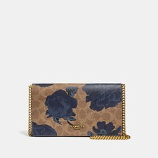 Image of Coach Australia B4/TAN BLUE MULTI CALLIE FOLDOVER CHAIN CLUTCH IN SIGNATURE CANVAS WITH KAFFE FASSETT PRINT