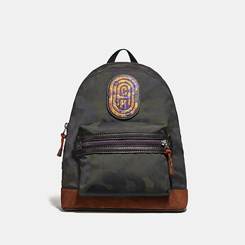 Image of Coach Australia  ACADEMY BACKPACK WITH WILD BEAST PRINT AND KAFFE FASSETT COACH PATCH