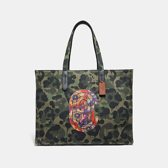 Image of Coach Australia  TOTE 42 WITH WILD BEAST PRINT AND KAFFE FASSETT COACH PATCH