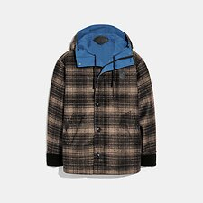 Image of Coach Australia BRIGHT BLUE REVERSIBLE PLAID JACKET