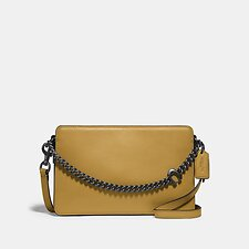 Image of Coach Australia V5/DARK MUSTARD SIGNATURE CHAIN CROSSBODY