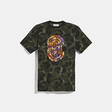 Image of Coach Australia GREEN MULTI WILD BEAST COACH T-SHIRT WITH KAFFE FASSETT PRINT