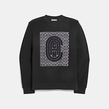 Image of Coach Australia BLACK RETRO SIGNATURE SWEATSHIRT
