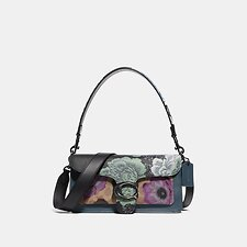 Image of Coach Australia V5/TAN PURPLE MULTI TABBY SHOULDER BAG 26 IN SIGNATURE CANVAS WITH KAFFE FASSETT PRINT
