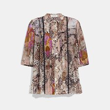 Image of Coach Australia PEACH/PINK BUTTON DOWN BLOUSE WITH KAFFE FASSETT PRINT
