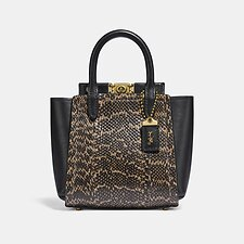 Image of Coach Australia B4/BLACK TROUPE TOTE 16 IN SNAKESKIN