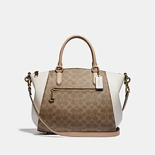 Image of Coach Australia B4/TAN BEECHWOOD ELISE SATCHEL 29 IN SIGNATURE CANVAS
