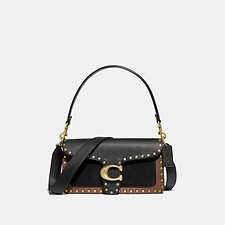 Image of Coach Australia B4/BLACK MULTI TABBY SHOULDER BAG 26 WITH RIVETS