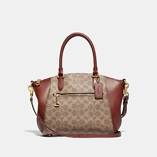 Image of Coach Australia B4/TAN RUST ELISE SATCHEL IN SIGNATURE CANVAS