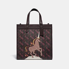 Image of Coach Australia V5/BLACK OXBLOOD FIELD TOTE WITH HORSE AND CARRIAGE PRINT AND UNICORN