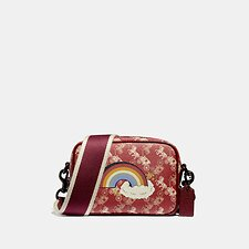 Image of Coach Australia V5/RED DEEP RED CAMERA BAG 16 WITH HORSE AND CARRIAGE PRINT AND RAINBOW
