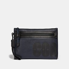 Image of Coach Australia MIDNIGHT/BLACK ACADEMY POUCH WITH COACH PRINT
