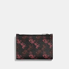 Image of Coach Australia BLACK/RED BIFOLD ZIP CARD CASE WITH HORSE AND CARRIAGE PRINT