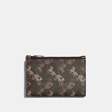 Image of Coach Australia BROWN/TAN BIFOLD ZIP CARD CASE WITH HORSE AND CARRIAGE PRINT