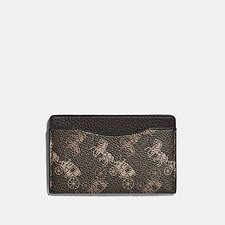 Image of Coach Australia BROWN/TAN SMALL CARD CASE WITH HORSE AND CARRIAGE PRINT