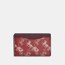Image of Coach Australia RED/WHITE SMALL CARD CASE WITH HORSE AND CARRIAGE PRINT