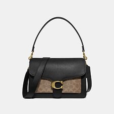 Image of Coach Australia B4/TAN BLACK TABBY SHOULDER BAG WITH SIGNATURE CANVAS