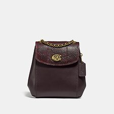 Image of Coach Australia B4/DEEP RED PARKER CONVERTIBLE BACKPACK 16 WITH SNAKESKIN DETAIL