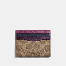Image of Coach Australia B4/METALLIC MULTI CARD CASE IN COLORBLOCK SIGNATURE CANVAS