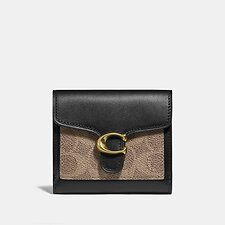 Image of Coach Australia B4/TAN BLACK TABBY SMALL WALLET IN COLORBLOCK SIGNATURE CANVAS