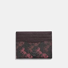 Image of Coach Australia V5/BLACK OXBLOOD CARD CASE WITH HORSE AND CARRIAGE PRINT